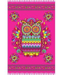 Pink fringed pareo with owl motif - CORUJA ROSA