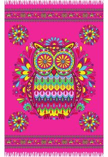 Pink fringed pareo with owl motif - CORUJA ROSA