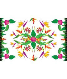 Fringed pareo with colourful floral print - CRISTA DE GALO