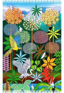 Pareo con estampado de bosque tropical y dibujo estilo naïf - DESPERTAR DA PRIMAVERA