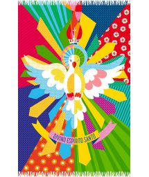 Multicoloured fringed pareo with bird motif - DIVINO ESPIRITO SANTO
