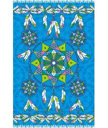 Blue pareo with dream-catcher pattern - DREAM BLUE