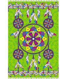 Green pareo with dream-catcher pattern - DREAM GREEN