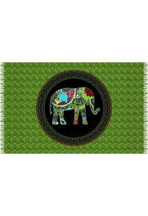 Green cashmere print pareo, elephant motif - ELEPHANT HIJAU
