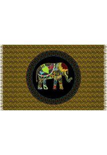 Mønstret pareo i kashmir med billede af elefant - ELEPHANT ORANGE