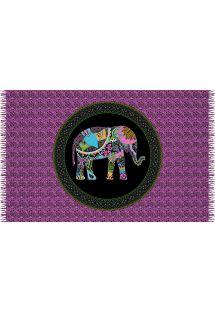 Lyserød mønstret pareo i kashmir med billede af elefant - ELEPHANT PINK