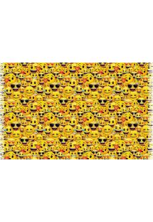 Playful and appealing yellow pareo with smiley print - EMOTIONS