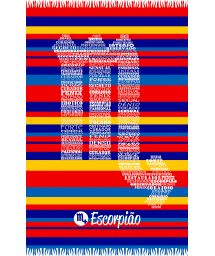 Striped pareo with Scorpio zodiac sign - ESCORPIAO
