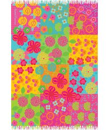 Multicoloured fringed pareo with flowers - FLORAL BEBEL