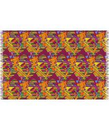 Fringed pareo with mixed geometric prints - FOLHAS SAGRADAS