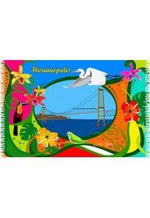 Pareo met tropisch postkaart motief - JANELA FLORIPA