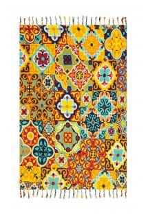 Pareo med frynser og farvestrålende mønster i mosaik-stil - LADRILHO PRETO