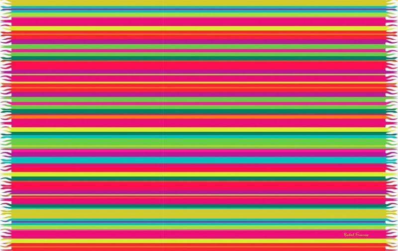 Randig pareo i flera klara färger och med fransar - LISTRAS BEBEL