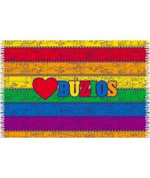 Парео с цветными полосами с надписьюBuzios - LOVE BUZIOS