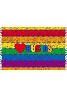 カラフルなストライプ柄とブジオス文字が入ったパレオ - LOVE BUZIOS