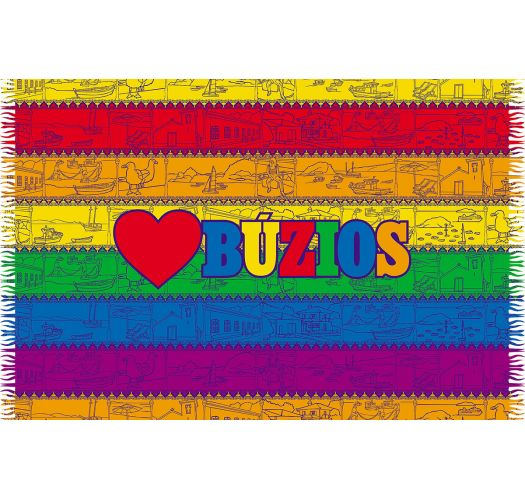 Farvestrålende stribet pareo med påskriften Buzios - LOVE BUZIOS