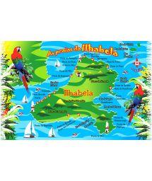 Fringed postcard-style pareo, Ilhabela - MAPA ILHA BELA