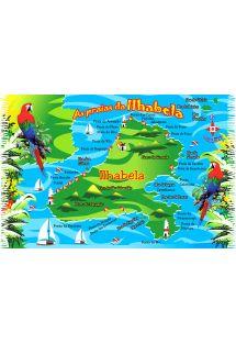 Pareo con mappa di Ilha Bela - MAPA ILHA BELA