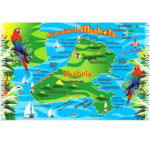 Pareo med frynser og billede af Ilhabela i postkortstil - MAPA ILHA BELA