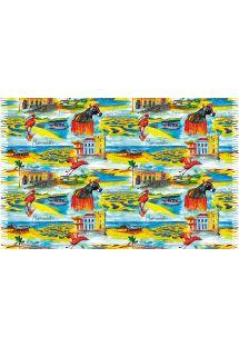 Multicoloured pareo with bull and pelicanmotifs - MARANHAO