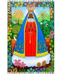Colourful fringed pareo with a divinity in a garden - NOSSA SENHORA APARECIDA NAIF