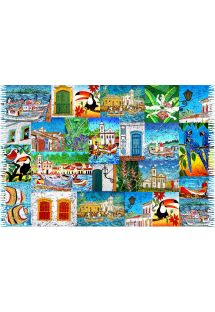 Patchwork style pareo with scenes from Paraty - PARATY
