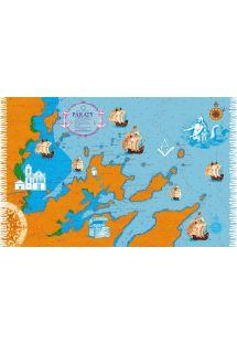 Orange/blå pareo med havnebillede fra Paraty - PARATY CARTA NAUTICA