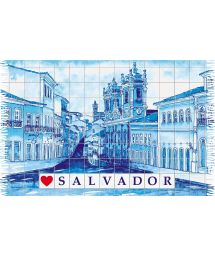 Fringed blue pareo with drawing of the town of Salvador - PELOURINHO SALVADOR AZUL