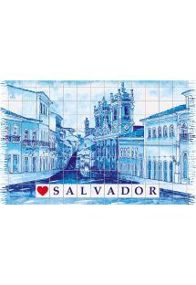 Salvador şehri desenli mavi saçaklı pareo - PELOURINHO SALVADOR AZUL