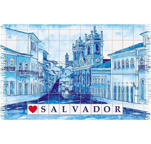 Fringed blue pareo with drawing of the town of Salvador - PELOURINHO SALVADOR AZUL
