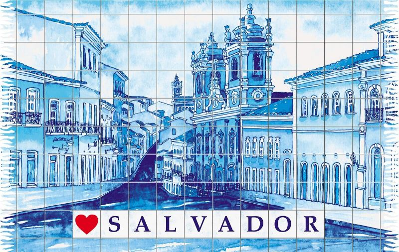 Blå pareo med motiv av staden Salvador - PELOURINHO SALVADOR AZUL
