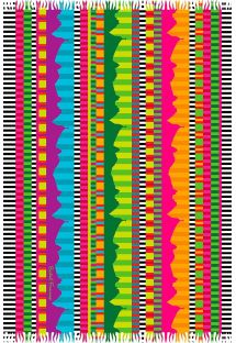 Fringed pareo with multicoloured stripes - RIO MEGACOLOR LISTRADO