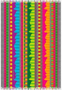 Canga com franjinhas e listas multicoloridas - RIO MEGACOLOR LISTRADO