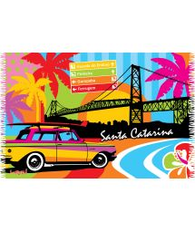 Multicoloured fringed pareo urban scene print - SANTA CATARINA LOBO
