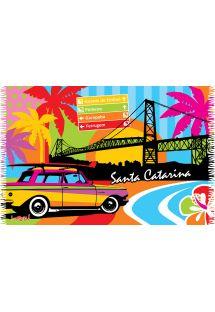 Multicoloured fringed pareo urban scene print - SANTA CATARINA LOBO