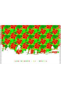 Sarong verde com flores vermelhas - SILHUETA ILHA GRANDE
