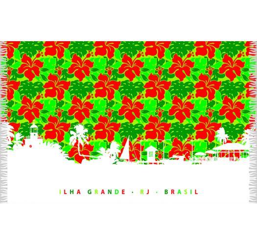 Green sarong with red flowers - SILHUETA ILHA GRANDE
