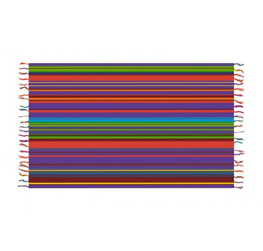 Violet and multicoloured striped pareo - SOLAR SOLEIL BLUE