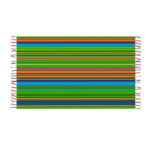 Paréo imprimé rayures à dominante vertes - SOLAR SOLEIL GREEN