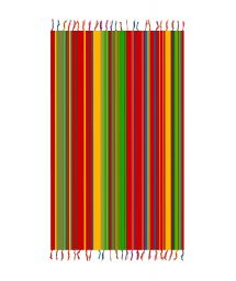Fringed pareo with red, yellow, and green stripes - SOLAR SOLEIL YELLOW