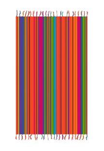 Pareo met franje en kleurrijke strepen - SOLAR SOLEIL PINK
