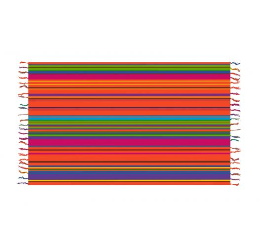 Fringed pareo with multicoloured stripes - SOLAR SOLEIL PINK