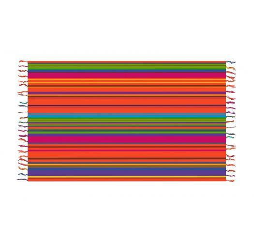 Pareo med frynser og farvestrålende striber - SOLAR SOLEIL PINK