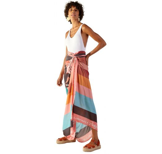 Tropical print pareo with colorful stripes - KANGA PALMAR