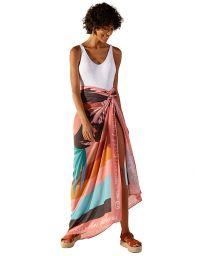 Tropical print pareo with colorful stripes - KANGA PALMAR