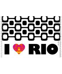 Ipanema black and white pareo with colourful heart  - CANGA CORACAO LOVE RIO KAKAU