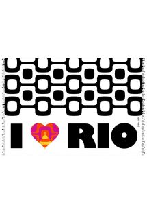 カラフルなハート柄と、イパネマの白と黒の装飾のパレオ - CANGA CORACAO LOVE RIO KAKAU