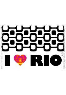 Sort/hvid pareo fra Ipanema med farvet hjerte - CANGA CORACAO LOVE RIO KAKAU