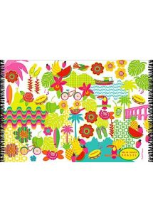 Cheerful, multicoloured sarong, Brazil and summer theme - CANGA PANDEIRO CARIOCA BEBEL
