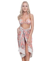 Luxurious pareo with coral-beige print - SARONG CASHMIRE